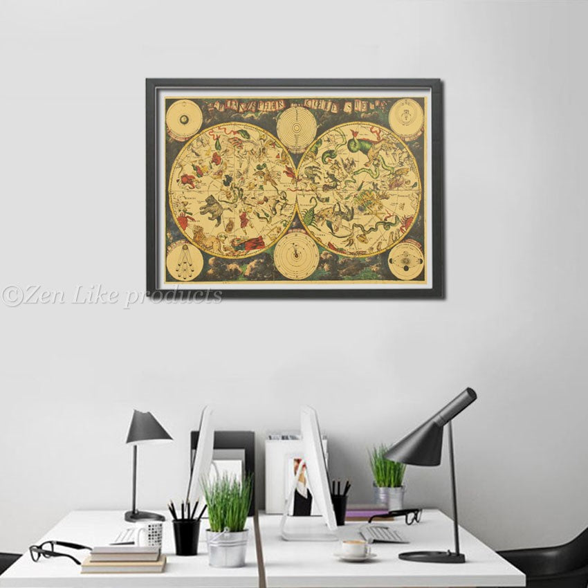 FREE Zodiac Constellation Map Poster Zen Like Productscom - Constellation wall map