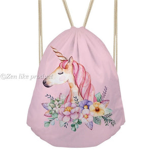 Drawstring Floral Unicorn