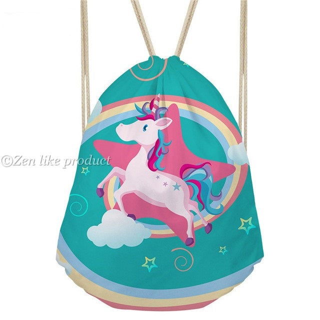 Drawstring Green Rainbow Unicorn