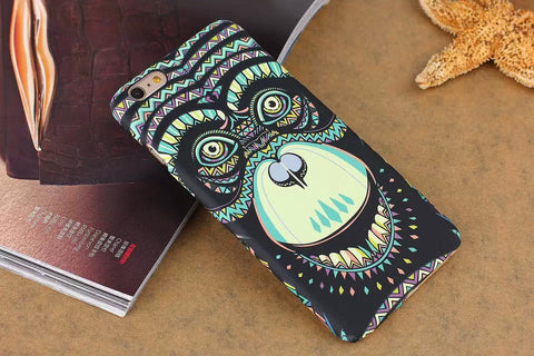 Luminous Embossed For Coque iPhone 7 Case Elephant Tiger Cat PC Funda Case For iPhone 7 6 6S Plus 5S SE Capinhas Hard PC Cover