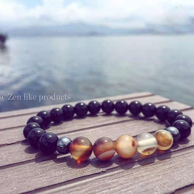 Natural Black Mantra Prayer Beads Bracelet