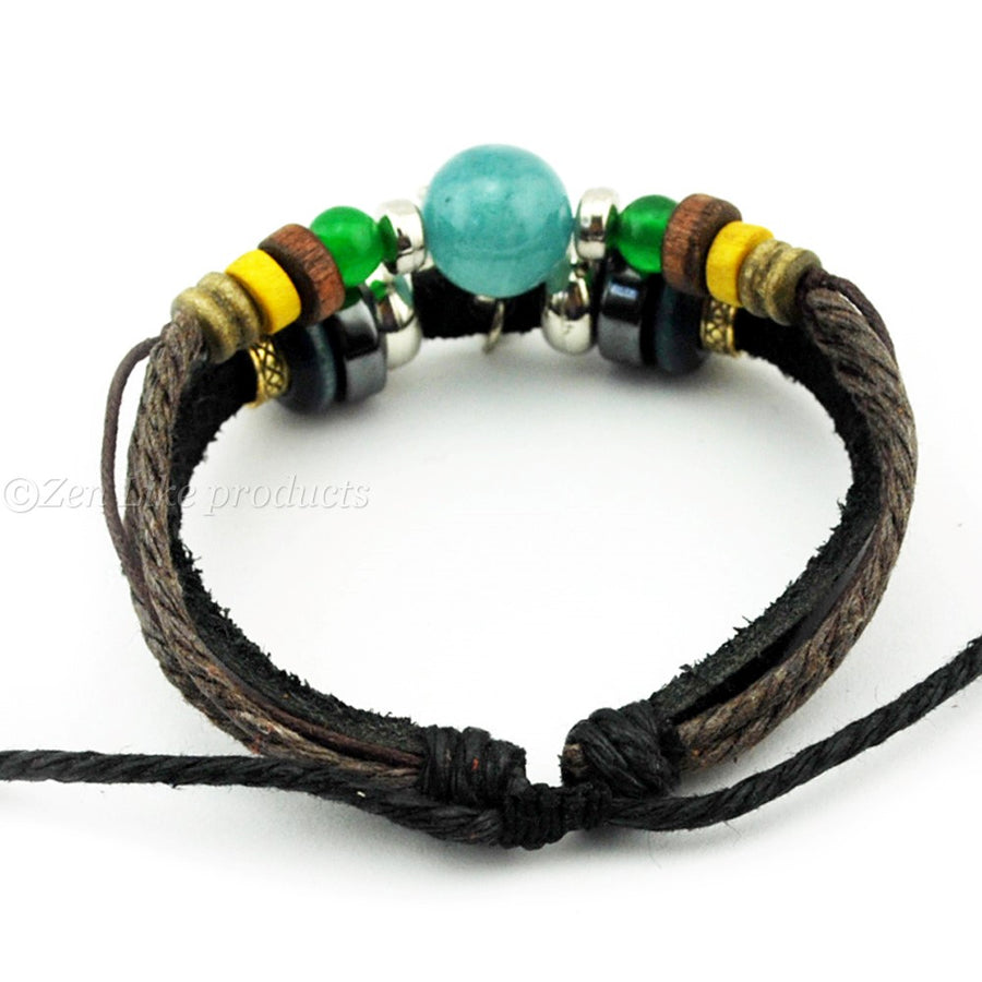 """Free"" Zodiac Sign Charm Leather Bracelet"