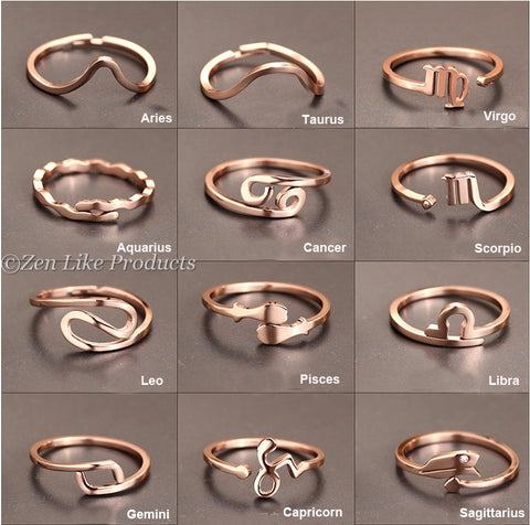 New Design 12 constellations Zodiac Sign RIng