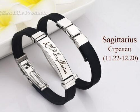 """FREE"" Zodiac Round Pendant Leather Adjustable Bracelet Mens or Women's"
