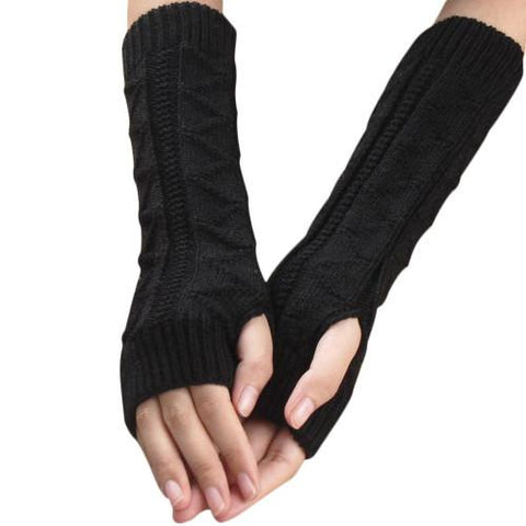 Amazig 2016 New Solid Color Long Mitten Gloves Women Knitted Fingerless Winter Gloves Solid Color FunS29