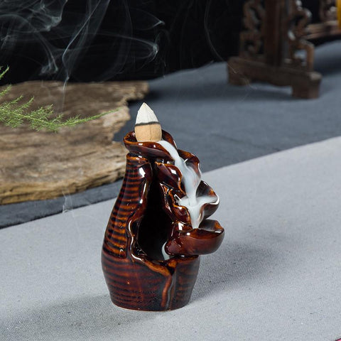 Backflow Incense Burner Ceramic Censer Buddhism Oil Burner