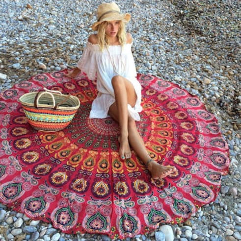 Beach Blanket - Geometric Round Beach Towel/Yoga Mat