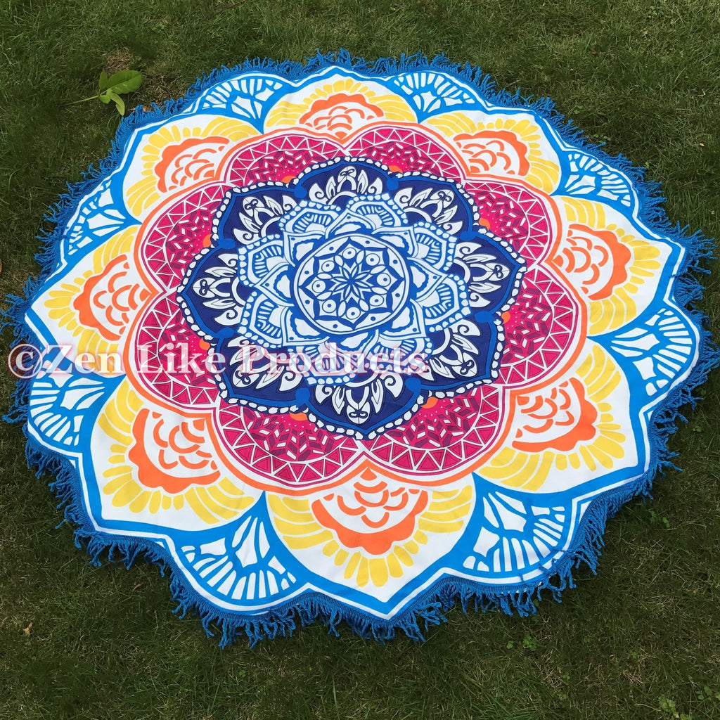 Mandala Lotus Flower Shape Beach Blanket New Now Available In