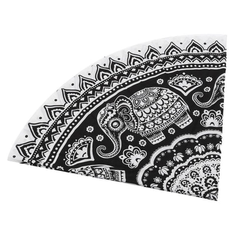 BLACK ELEPHANT MANDALA BEACH BLANKET