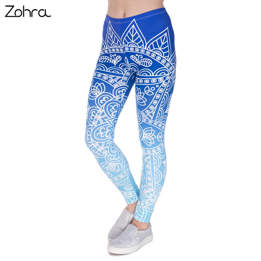 Blue Mandala Flower Leggings