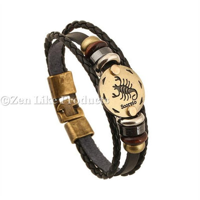 "Bracelets - ""FREE"" Zodiac Round Pendant Leather Adjustable Bracelet Mens Or Women's"