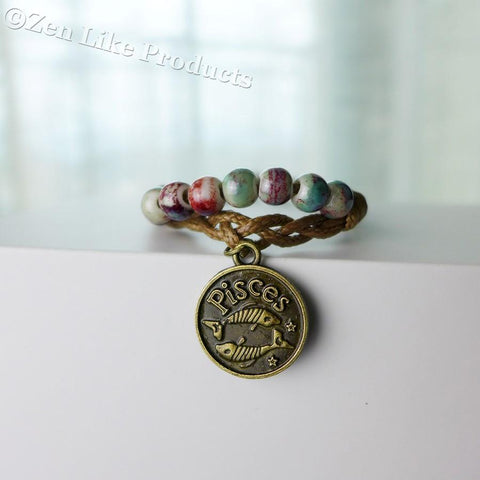 "Bracelets - ""FREE"" Zodiac Round Pendant With Beads Adjustable Bracelet Mens Or Women's"