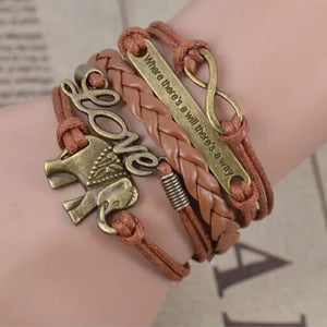 Bracelets - Leather Elephant Bracelet