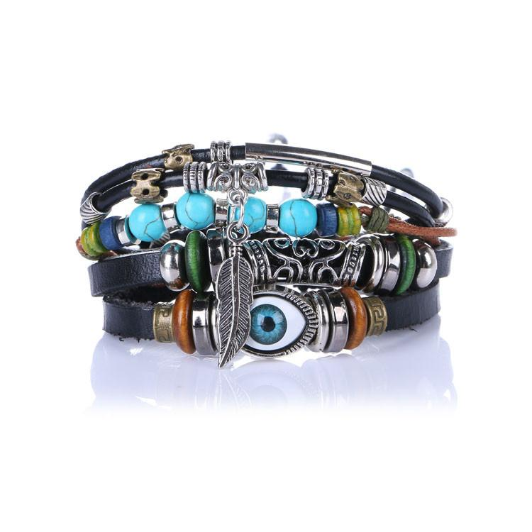 Bracelets - Multilayer Spiritual Leather Bracelet - Adjustable And Unisex