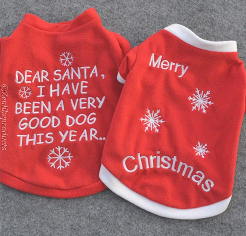 Christmas Embroidered Dog Clothes