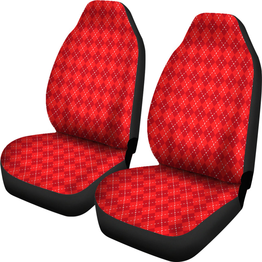 Red Argyle Car Seat Covers