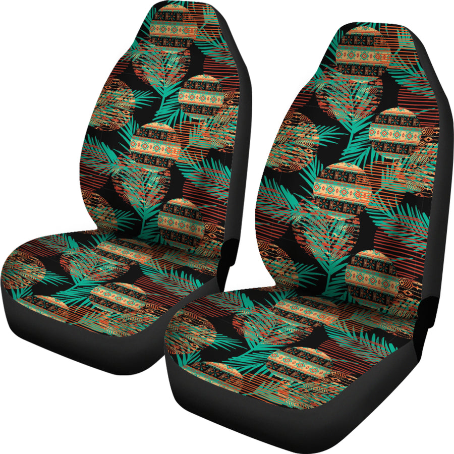 Green Leaf Tribal Car Seat Covers