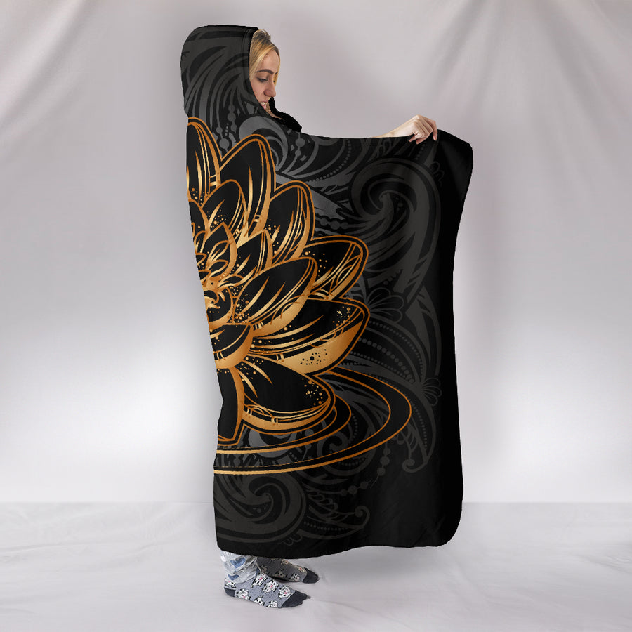 Golden Lotus Hooded Blanket