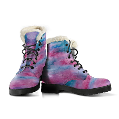 Watercolor Pink Faux Fur Leather Boots