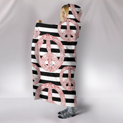 Black and White Boho Peace Hoodie Blanket