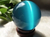 Healing Crystals - ASIAN QUARTZ BLUE CAT EYE CRYSTAL BALL SPHERE 40MM With STAND