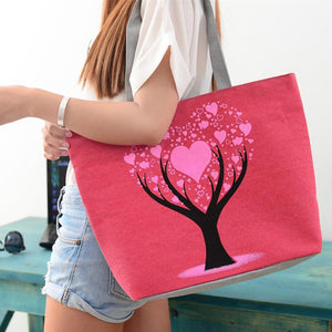 Heart Print Beach Tote Bag