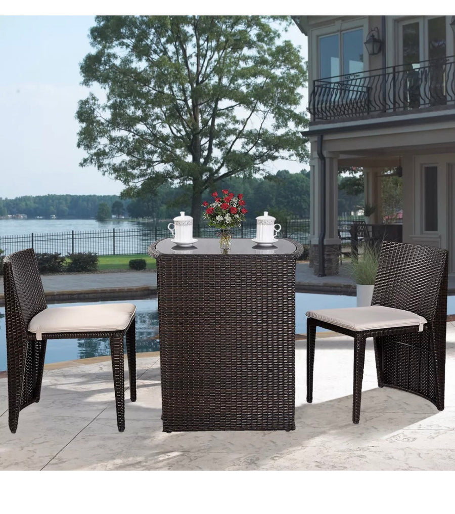 3 Piece Cushioned Patio Set