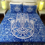 Mandala Beach Blanket - Blue Hamsa Hand Bed Set (Queen Size)
