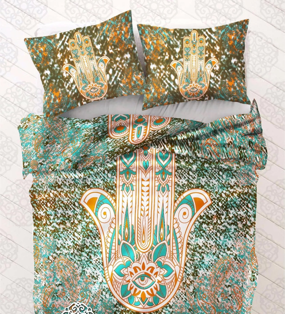 Mandala Beach Blanket - Hamsa Hand Bed Comforter Set (Queen Size)