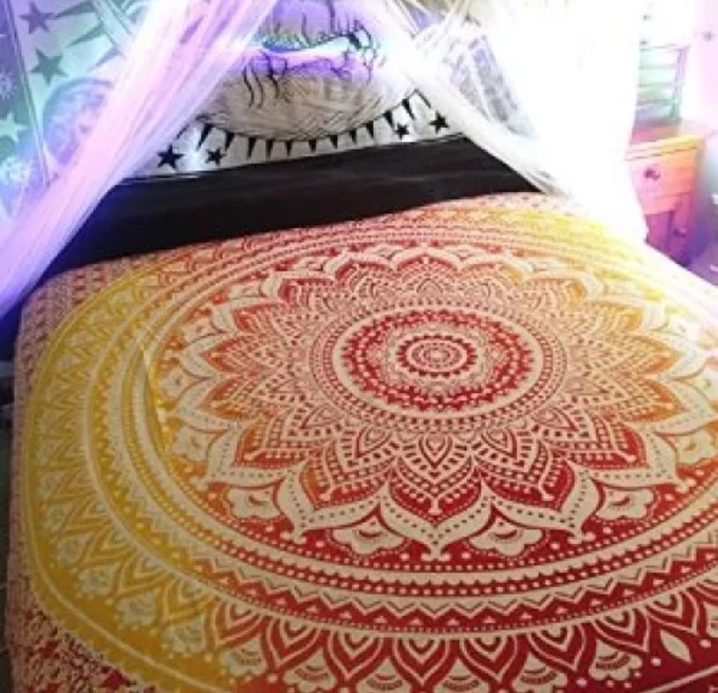 Mandala Beach Blanket - Mandala Queen Bed Cover (Red &a Yellow)