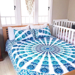 Mandala Beach Blanket - Mandala Queen Bed Cover ( Sea Blue )