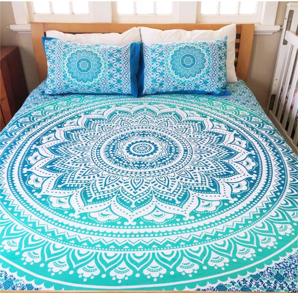 Mandala Beach Blanket - Mandala Queen Bed Set (Deep Blue)