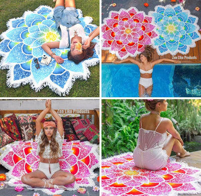 Mandala Beach Blanket - New Mandala Beach Blanket (Lotus Style)