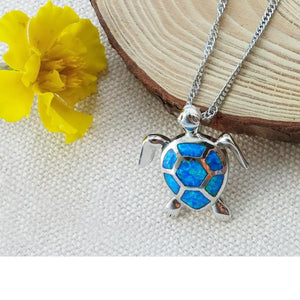 Necklace - Beautiful Mistic Blue Fire Charm Necklace