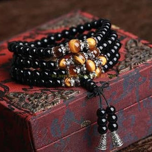 Necklace - Buddhist Black Glaze 108 Prayer Beads Mala Bracelet Necklace