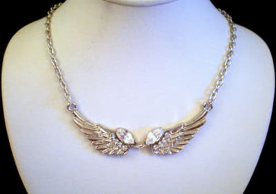 Necklace - CLEAR CRYSTAL SILVER ANGEL WINGS NECKLACE PENDANT