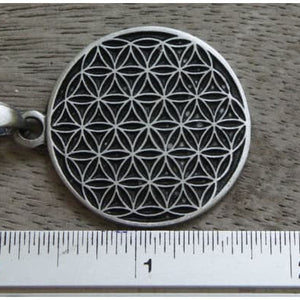 "Necklace - FLOWER OF LIFE Necklace + 18"" PVC Rubber Necklace"