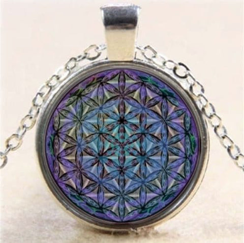 Necklace - Flower Of Life Pendant With Silver Chain Necklace