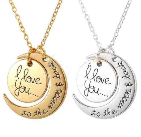 Necklace - I LOVE YOU TO THE MOON AND BACK Moon Charm Pendant Necklace