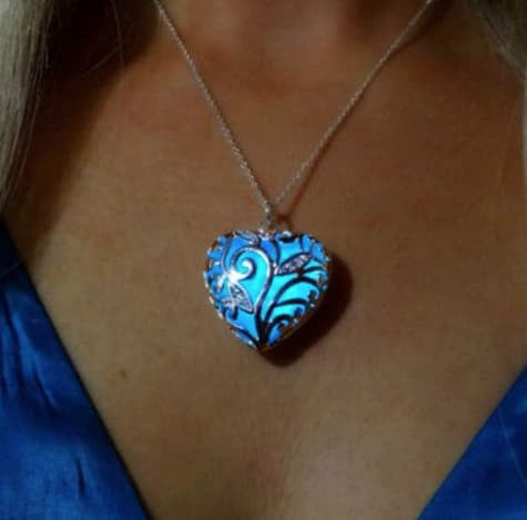 Necklace - Magical Aqua Blue Love Heart Tree Of Life Glow In The Dark Pendant Necklace
