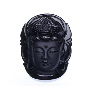 Necklace - Natural Black Obsidian Buddha Head Pendant With Bead Necklace