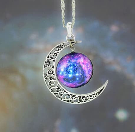 Necklace - Necklace Glass Galaxy Lovely Pendant Silver Chain Moon Necklace