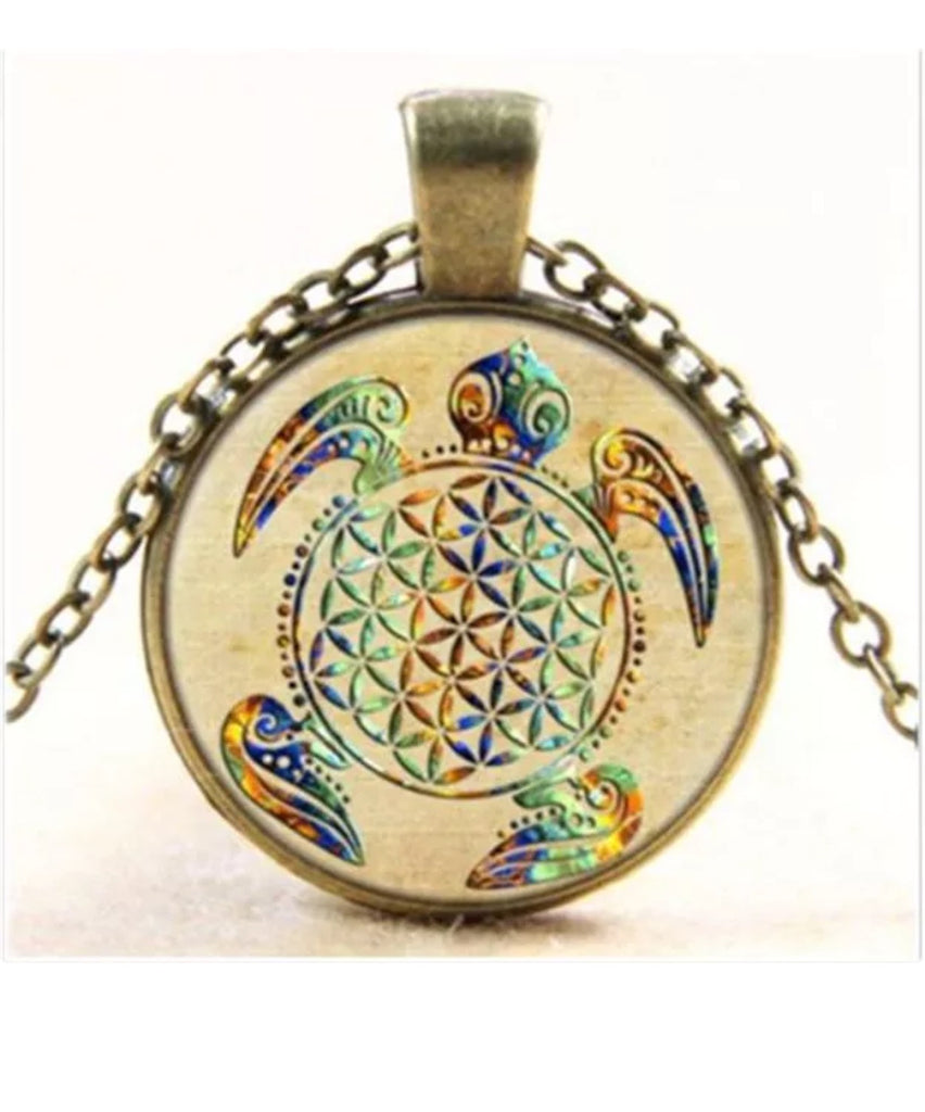 Necklace - Sacred Geometry Flower Of Life Turtle Necklace