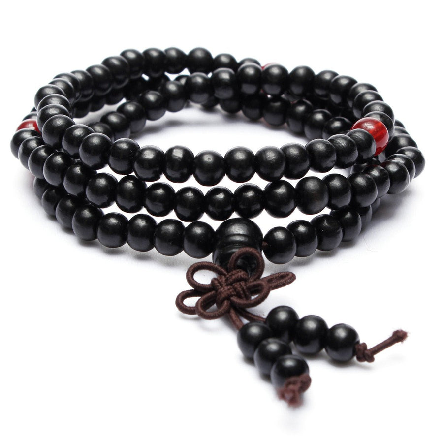 Necklace - Sandalwood Buddhist Buddha Meditation Prayer Bead Mala Bracelet Necklace Collection - (BLK)