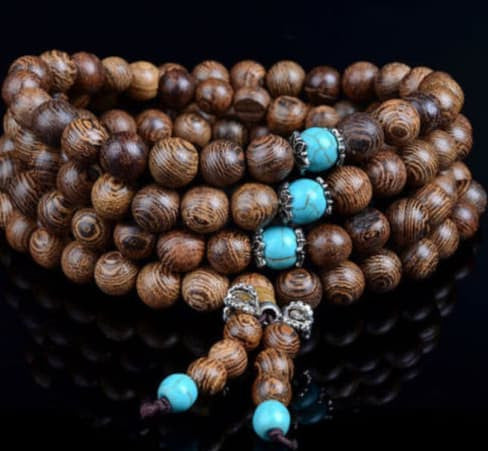 Necklace - Sandalwood Buddhist Buddha Meditation Prayer Bead Mala Bracelet Necklace Collection - (Natrual)