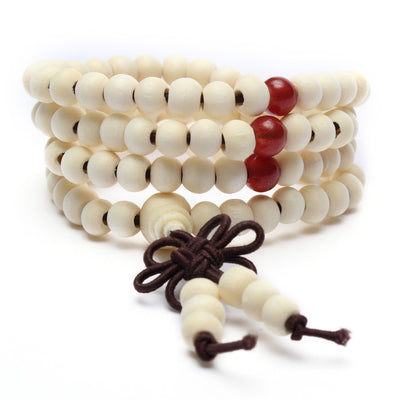 Necklace - Sandalwood Buddhist Buddha Meditation Prayer Bead Mala Bracelet Necklace Collection - (White)
