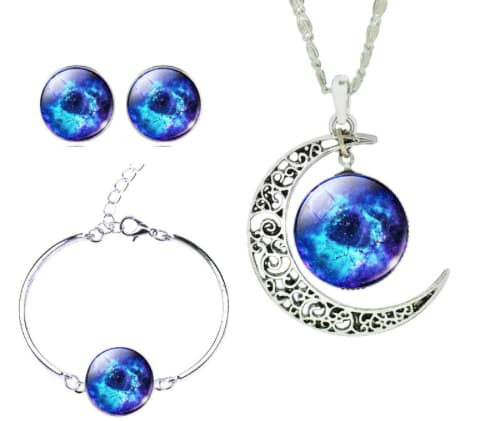 Necklace - (SET) Galaxy Art Picture Moon Necklace Stud Earrings Bracelet Bangle Jewelry Set -