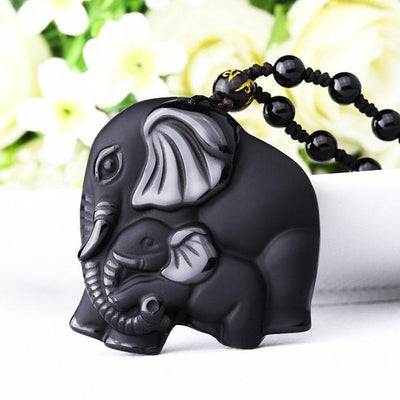 Necklaces - New Black Obsidian Lucky Elephant Pendant Necklace