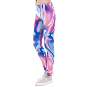 Neon Blue Pink Mandala Leggings