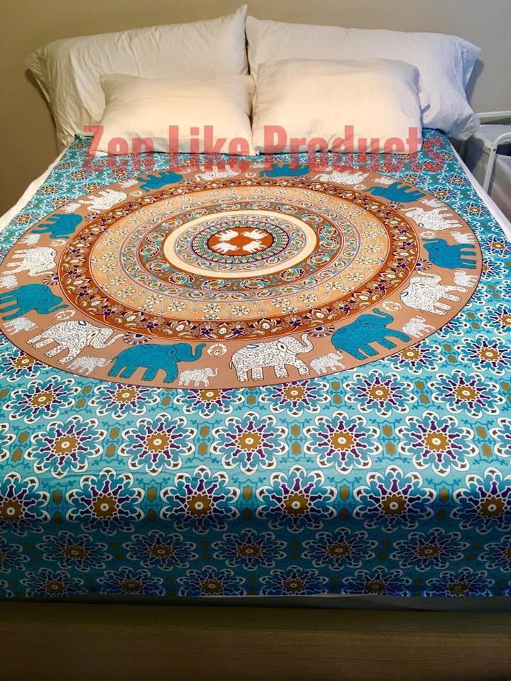 New Mandala Elephant Bed Cover Sheet
